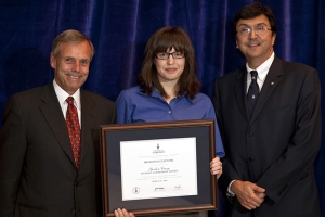 Sort-of ugly pic of me and Gordon Cressy, and the UofT president.