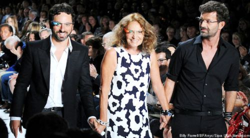 Diane Von Furstenberg's Spring 2013 runway collection featured all the models wearing Google Glass. Here is DVF with Google co-founder Sergey Brin. But much like everything that's ever happened at New York fashion week: Just because some skinny models wear it, doesn't mean regular people will.